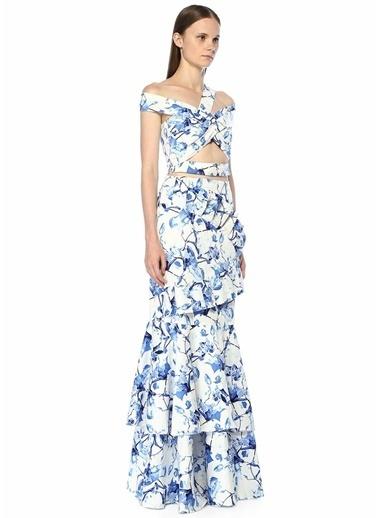 Stella&Amelia Stella McCartney 101312123 Conchita Drapeli Tek Omuzlu Crop Renkli Kadın Bluz Mavi